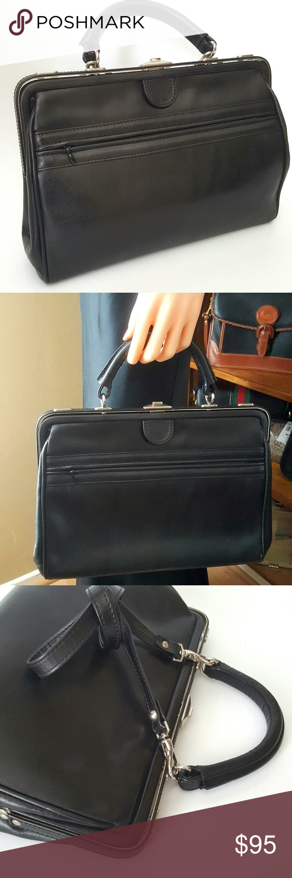 Vintage 1960 S Star Modell Black Leather Handbag Very Good To Excellent Condition Minimal Superficial