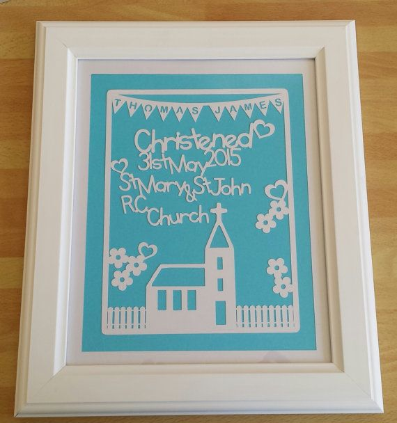 (Spend £30+ in one order and receive a 15% discount (excludes frames and p&p). The discount will be refunded to you, please message me for more details.)  This listing is for a framed personalised Christening / Baptism paper cut. This design would make a perfect gift for either a boy or girl on their baptism. A wonderful and unique gift that can be displayed in the babys room as a beautiful keepsake from their special day.  This design is personalised with the childs name in the bunting, the…