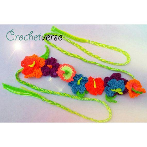 Flower Crown Crochet Pattern Hawaiian Floral Luau Lei Hippie Festival Beauty! Unicorn Horn Now Included! #crownscrocheted