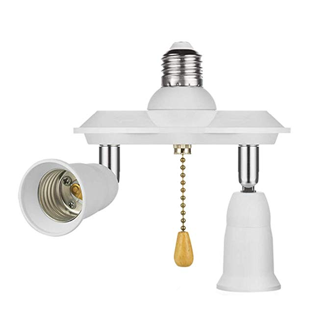 Pull Chain Light Fixture E26 E27 Pull Chain Light Socket Adapter Converter Splitter 360 Degree Adj Pull Chain Light Fixture Adjustable Lighting Light Fixtures