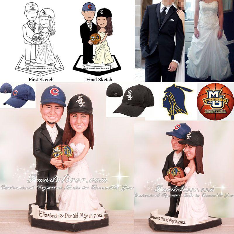 Marquette University Mu Basketball Wedding Cake Toppers