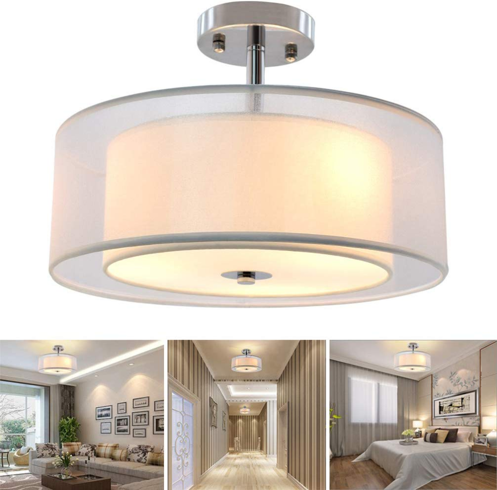 Dllt 3 Lights Industrial Semi Flush Mount Light Fixture Vintage Double Drum Pendant Close To C In 2020 Ceiling Lights Bedroom Ceiling Light Light Fixtures Flush Mount