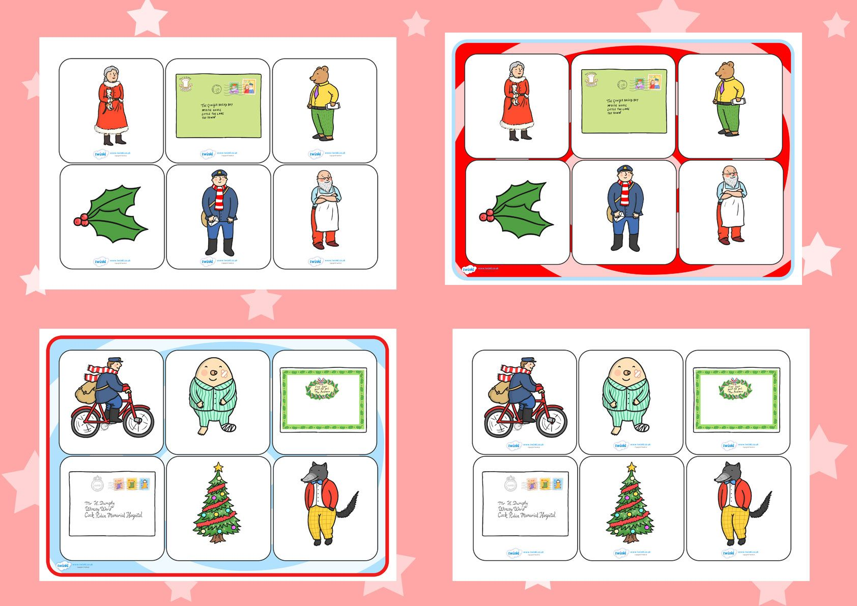 Twinkl Resources >> The Jolly Christmas Postman Matching Cards and ...