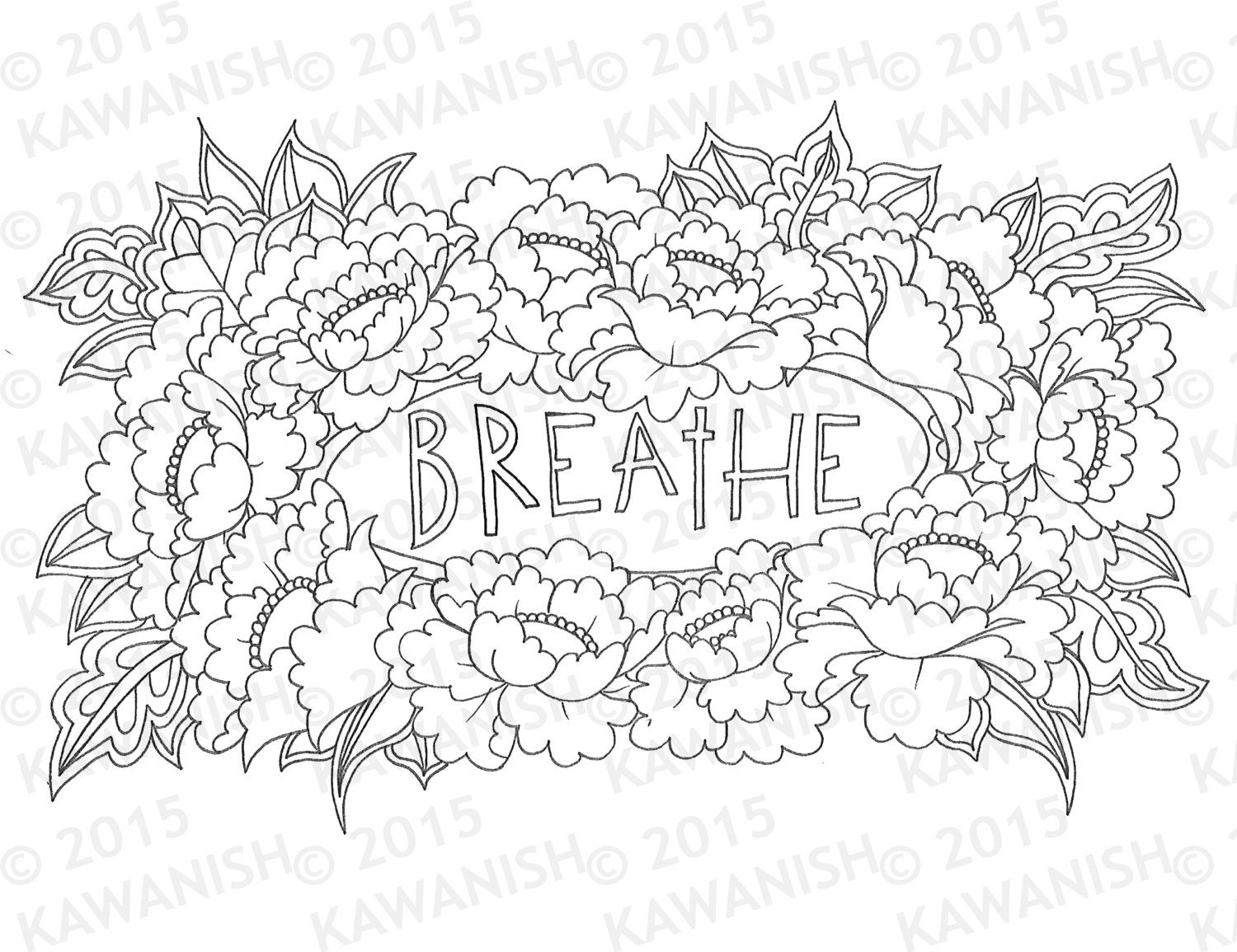 Breathe Floral Flower Adult Coloring Page Gift Wall By Kawanish
