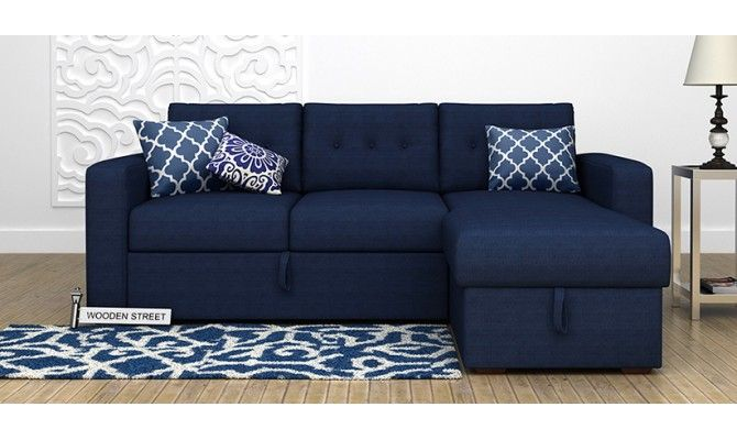 Get Great Deals on Alfonso FabricSofa Cum Bed Blue at WoodenStreet