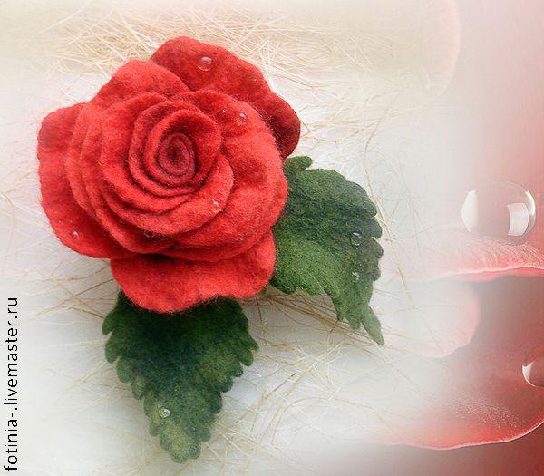 Роза из шерсти цельноваляная - Ярмарка Мастеров - ручная работа, handmade