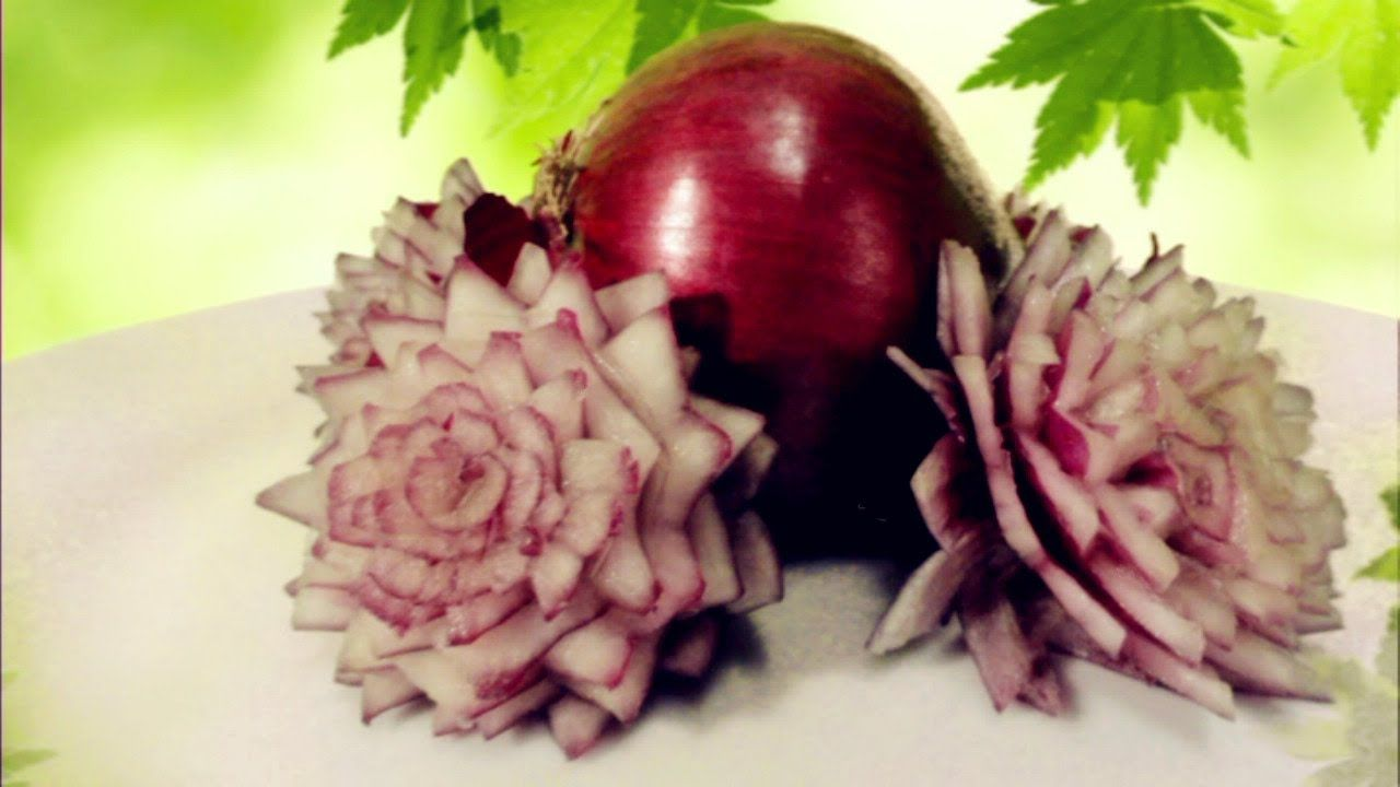 Vegetable carving step by step procedure - Art In Red Onion Flower Show Vegetable Carving Made Easy Playlist