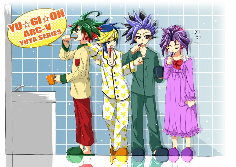 HAHAHA yuri's wearing a night gown HA and yuya is cute wearing red, green and cream coloured PJ's and yugo wearing banana PJ