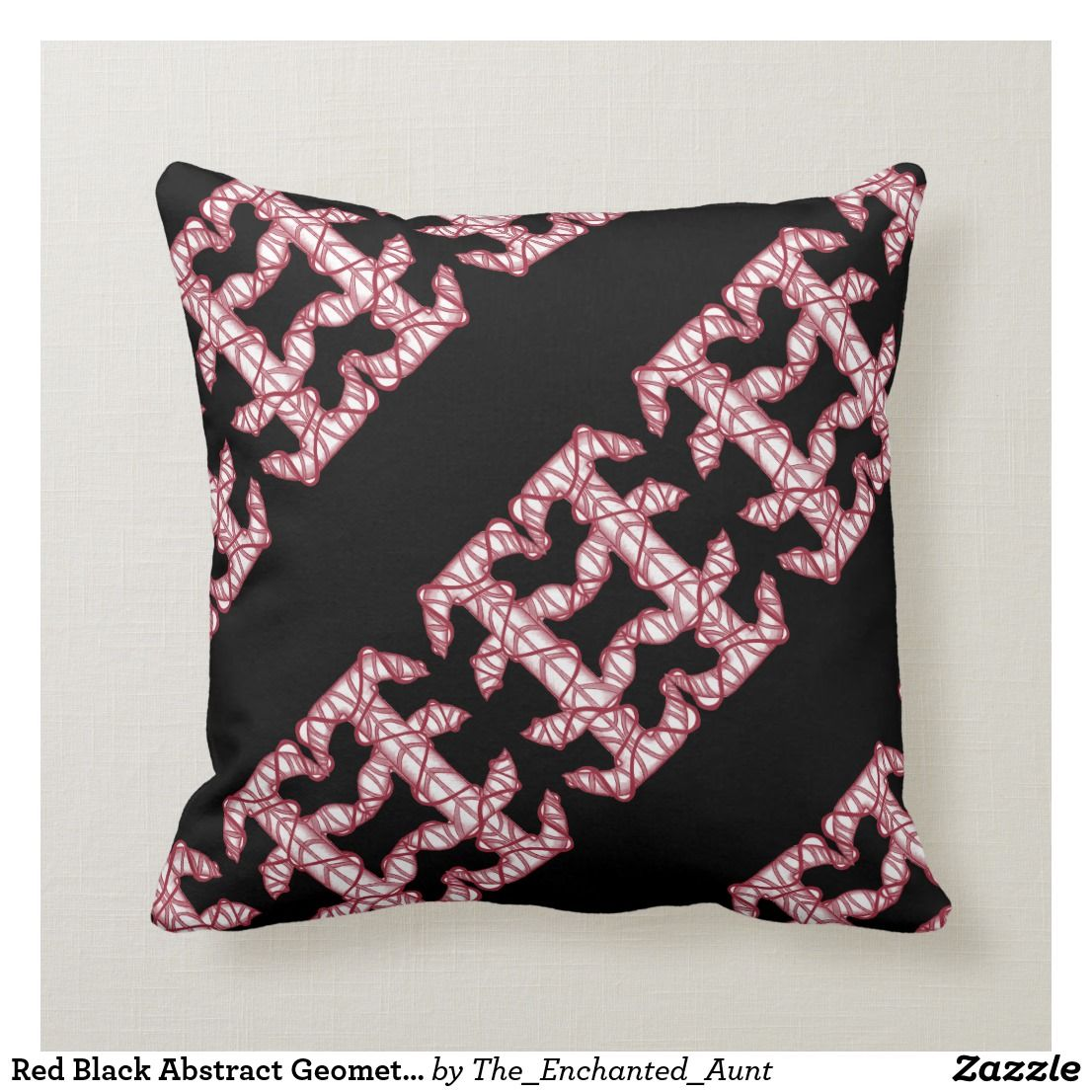 homedecor pillows #home #decor #homedecor Red Black Abstract Geometric White Pattern Pillow . Decorate your home with red throw pillows! These abstract red and black pillows are one of a kind patterns! Altered monogram letters have been created into cool geometric designs! Great for living spaces like living rooms or bedrooms! #throwpillows #homedecor #pillows #red #redhome #throwpillowsforbed #eleganthomes #pillowpattern #abstractart