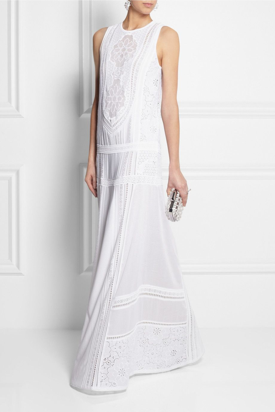 Roberto Cavalli | Cotton and crocheted lace maxi dress | NET-A ...