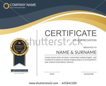 Vector Certificate Template Artcertifacate Pinterest