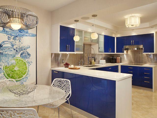 contemporary kitchen, blue kitchen, cobalt blue decor, Florida ...