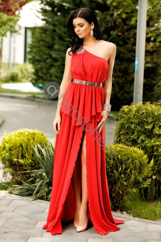 Rochie Lunga Rosie Cu Volan Rn 1244 Coafuri Formal Dresses