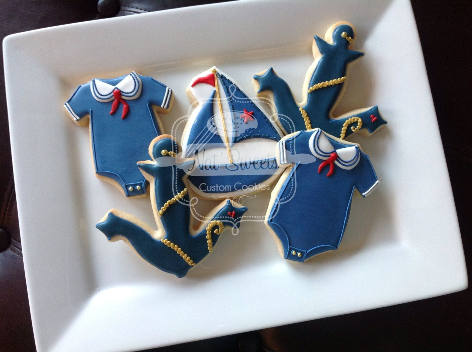 Nautical Baby cookies~                   by NatSweetsCookies on Etsy, $84.00, blue, Onsies, sailboat, anchor