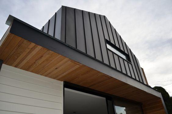 Vertical Cedar With Charcoal Zinc Google Search Facade House House Cladding Exterior Cladding