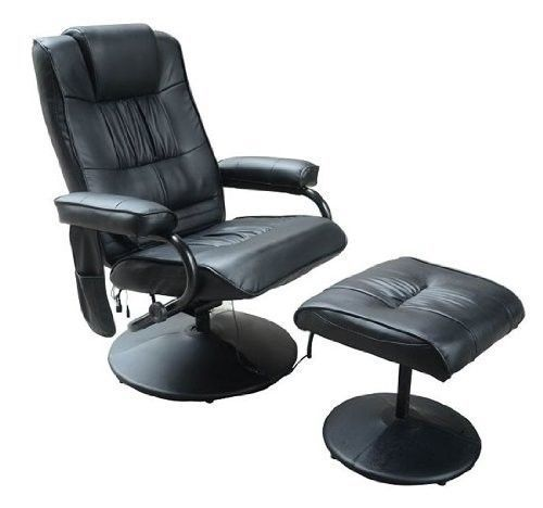 Leather Reclining Massage Chair Office Desk Chair With FootStool Gaming Armchair