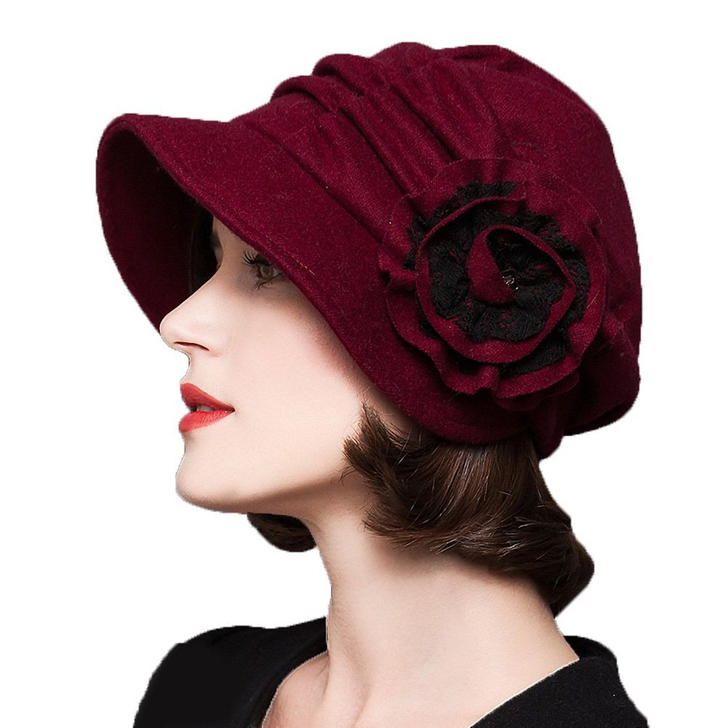 1920s Style Hats Decorative Flowers Wool Beret  28.40 AT vintagedancer.com ad9c321405a