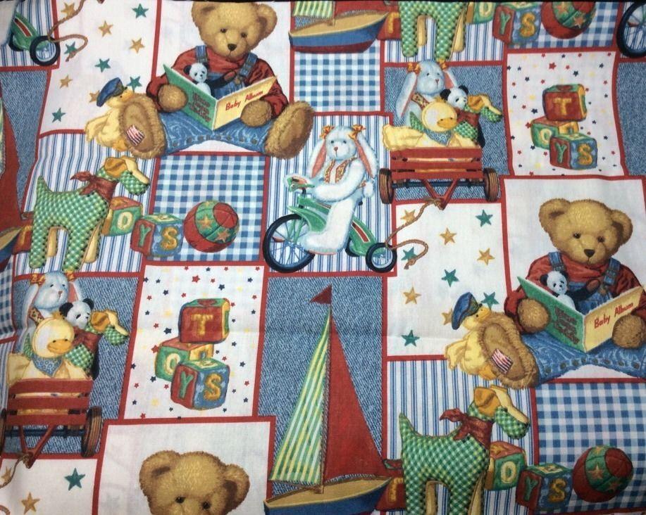 Daisy kingdom blue jean teddy bear fabric 12 yard cotton