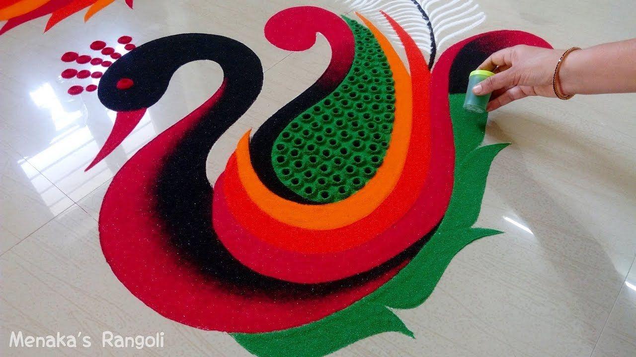 Beautiful Peacock Rangoli Design For Diwali Rangoli