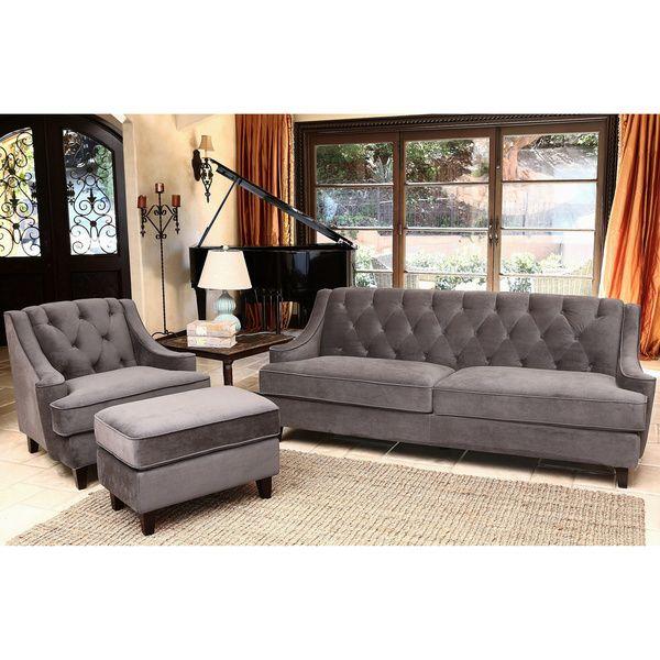 Best Abbyson Claridge Grey Velvet 3 Piece Seating Set By 400 x 300