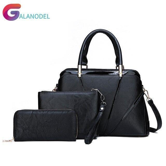 3 PcsSet Vintage Luxury Handbags Women Messenger Bags Female Purse Solid Shoulder Bags Office Lady Casual Tote Bolsa Feminina 3 PcsSet Vintage Luxury Handbags Women Messe...