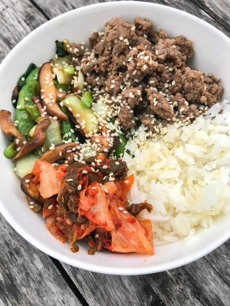 Asian Ground Beef And Veggie Bowl Paleo Gluten Free Recipe In 2020 Beef Bowl Recipe Veggie Bowl Ground Beef