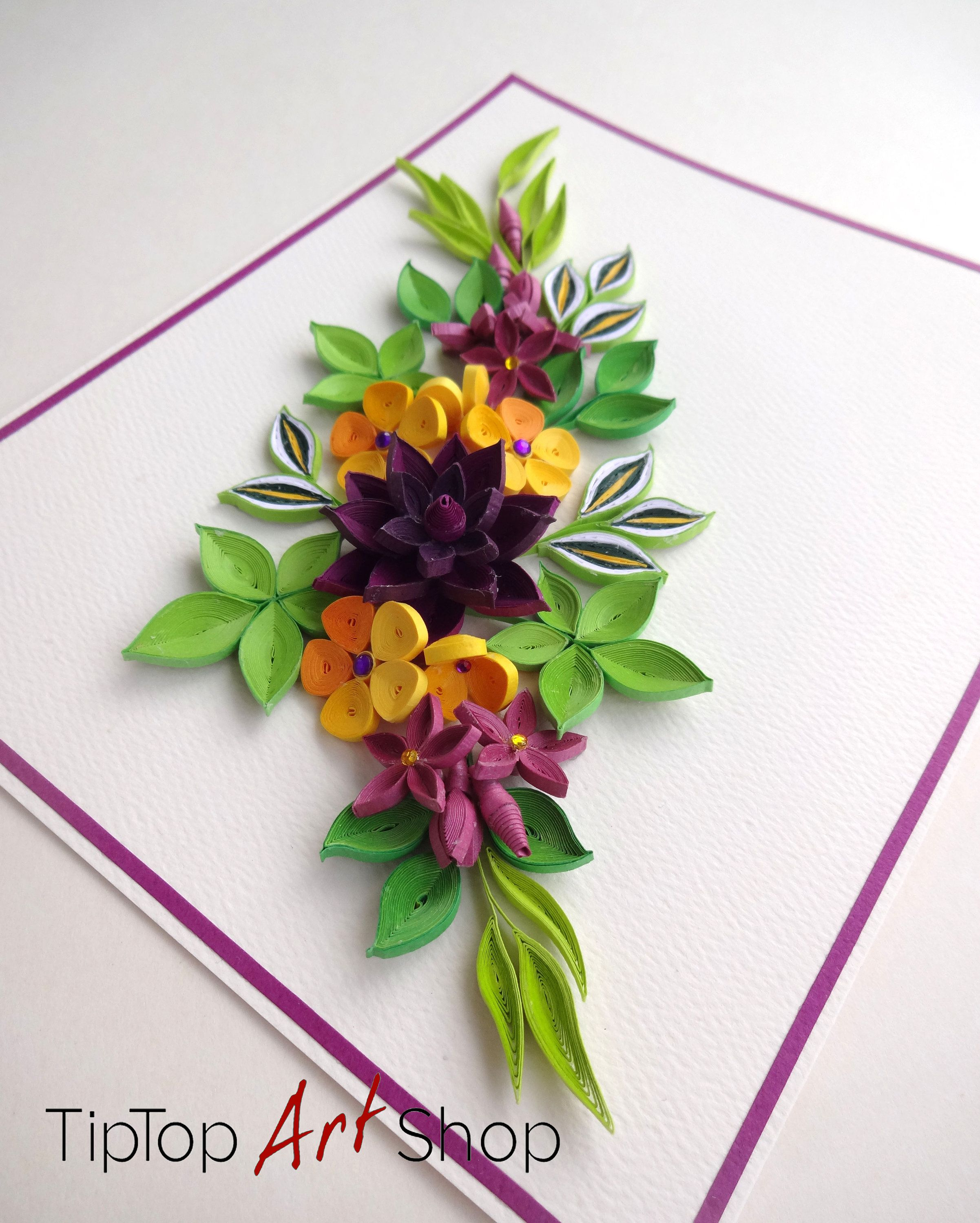 Homemade Birthday Quilling Card with Paper Flowers Anniversary Card
