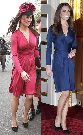 45e9363d7276 Kate   Pippa Middleton - Pippa wears the same dress as Kate s engagement  blue