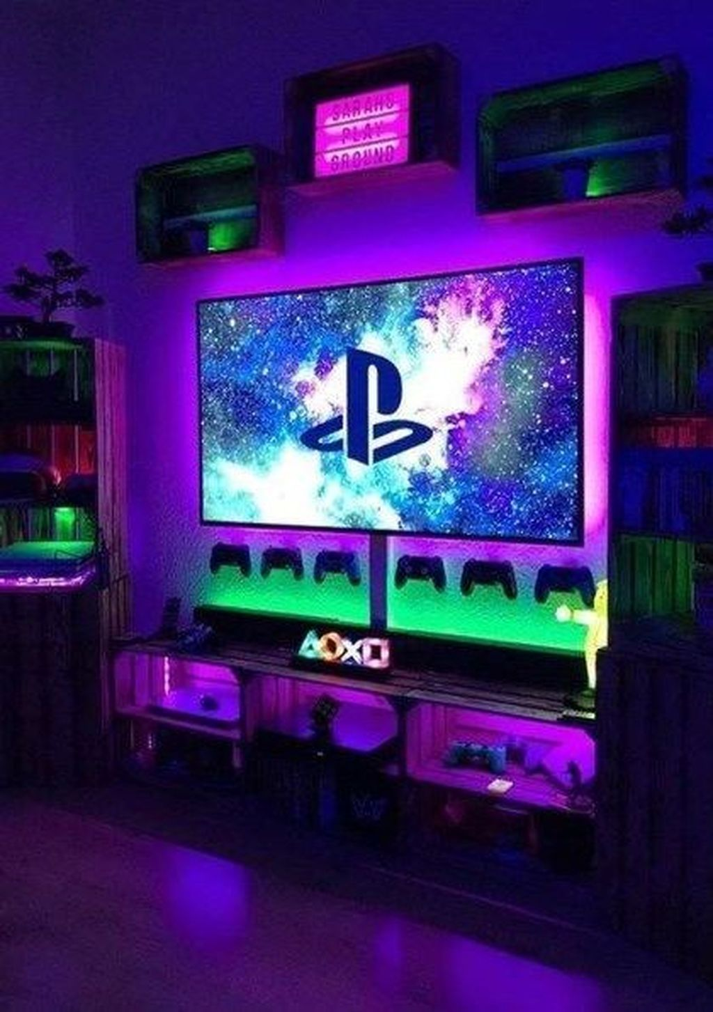 32 Comfy Video Gaming Room Designs Ideas That Your Kids Will Like It In 2020 Game Room Decor Room Setup Gamer Room