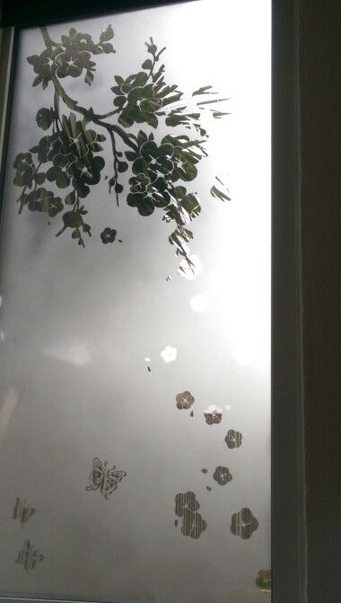 Cherry Blossom And Butterfly Window Design Using Frosted Glass