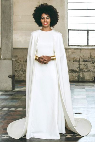 Solange Knowles The Most Breathtaking Celebrity Wedding Gowns Cape Wedding Dress Celebrity Wedding Gowns Solange Knowles Wedding