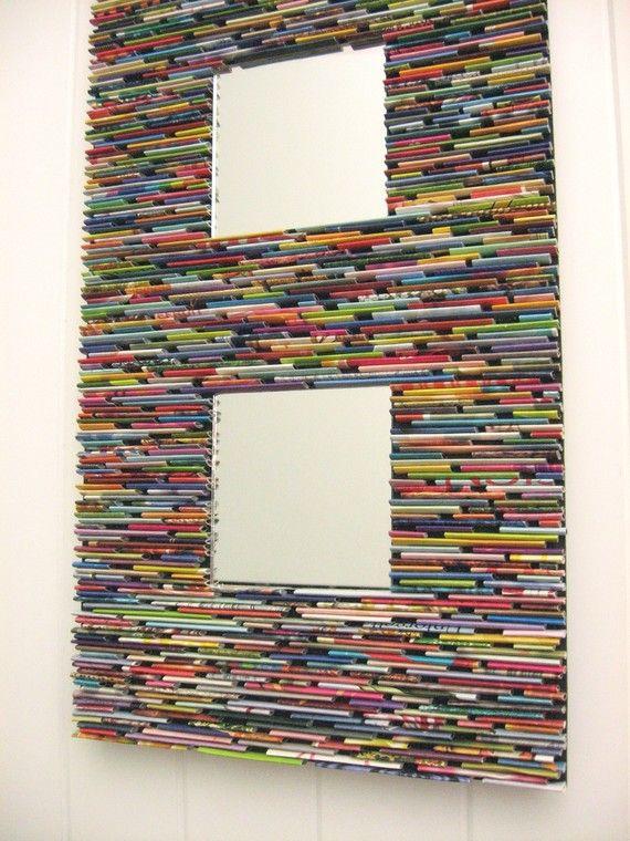 Espejo colorido arte de pared de revistas por - Espejo de papel ...