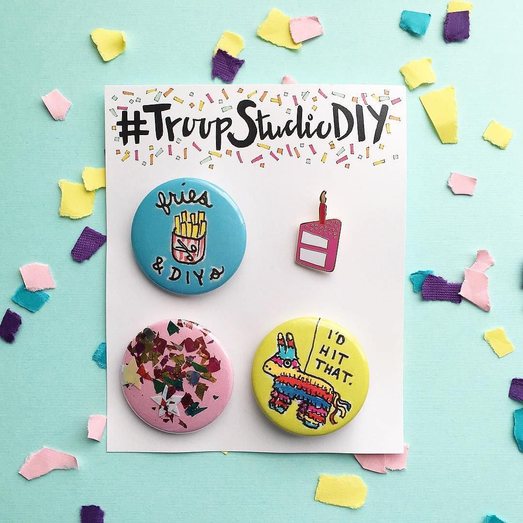 """""""Shoutout to @firesintheforest for this celebratory shot of our pin packs!  Want one for yourself? Tag photos of your projects with #troopstudiodiy or…"""""""