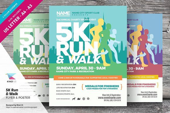5k Run Walk Flyer And Poster Flyer Template Template And