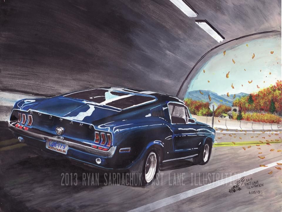 blue ridge blitz 1968 ford mustang painting by. Black Bedroom Furniture Sets. Home Design Ideas