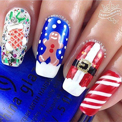 Gingerbread Man Stencils For Nails Christmas Nail Stickers Nail