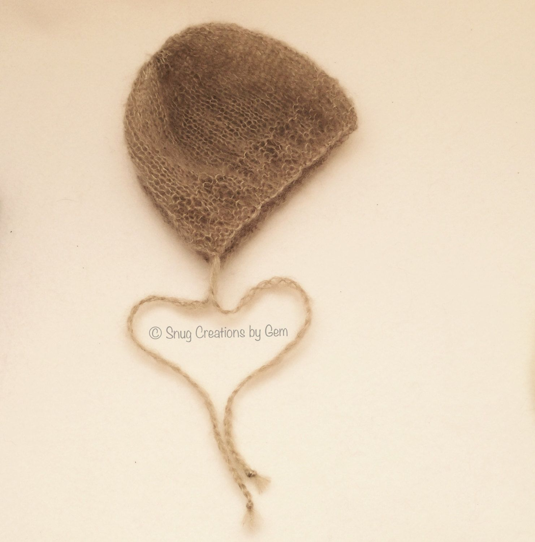 Light Beige Newborn Bonnet / Taupe Mohair Bonnet - New listing!! #handknitted #babyprop