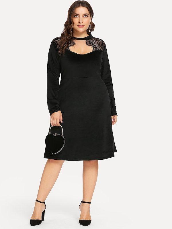https://de.shein.com/Plus-Solid-Contrast-Lace-Velvet-Dress ...
