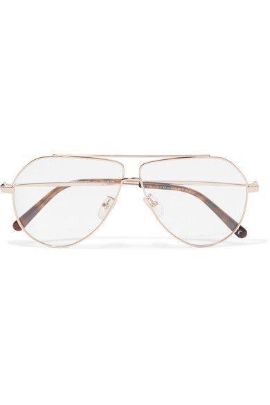fafe09cebeef STELLA MCCARTNEY Aviator-style fashionable gold-tone optical glasses ...
