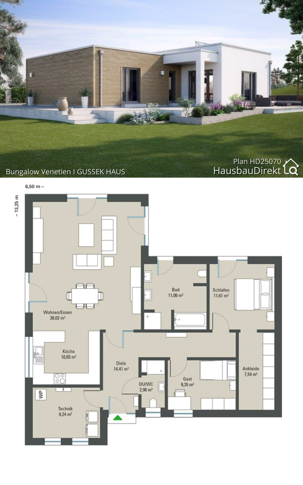 Modern Bungalow House Floor Plans with Flat Roof & 2 Bedroom European Minimalist Design Ideas
