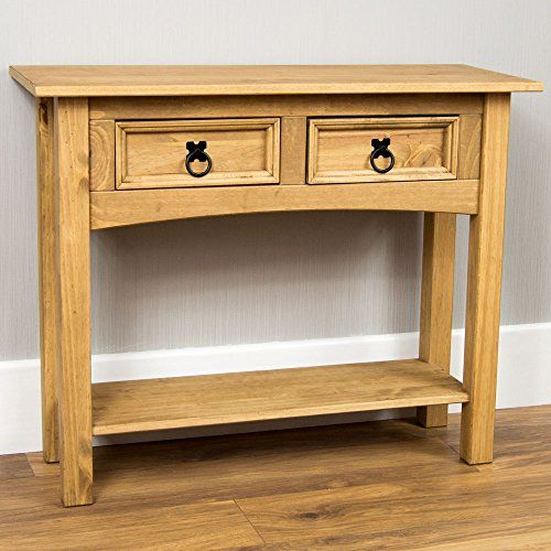 Home Discount Corona Distressed Waxed Pine Console Table Https