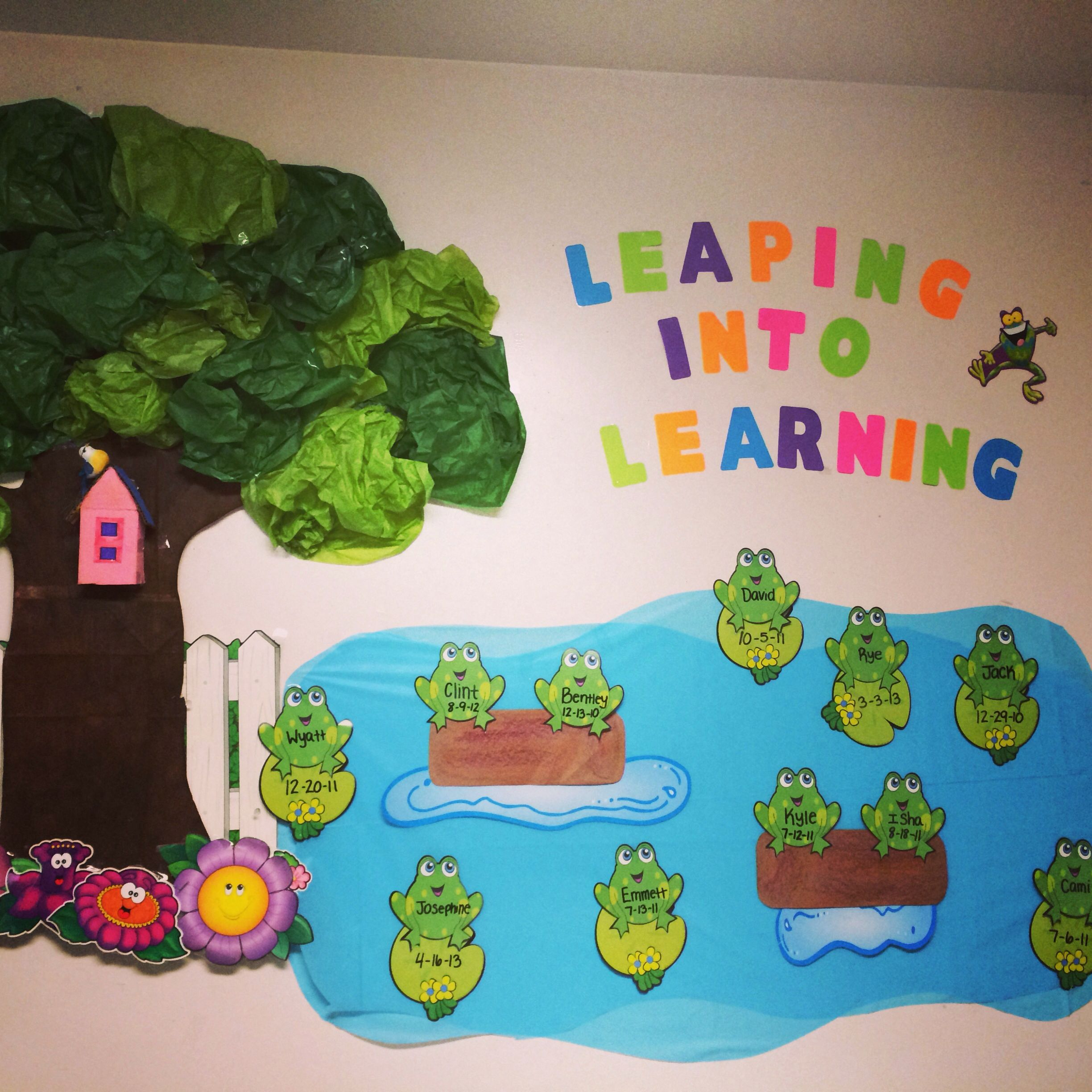 Leaping into learning toddler classroom decorations for Classroom mural ideas