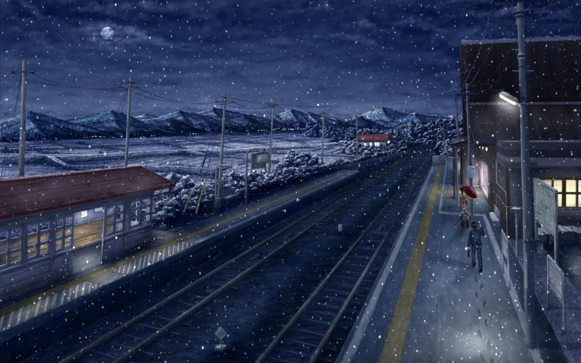 Winter Rail Girl Snow Umbrella Anime Scenery Winter Scenery Scenery Wallpaper