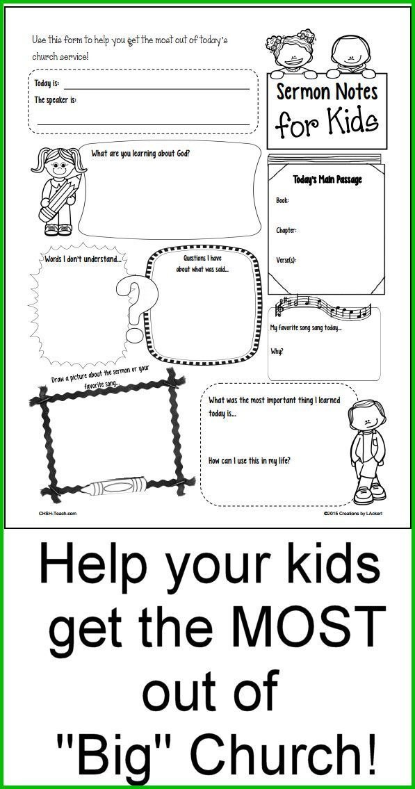 Sermon Notes for Kids! Better than coloring sheets...Help your child ...