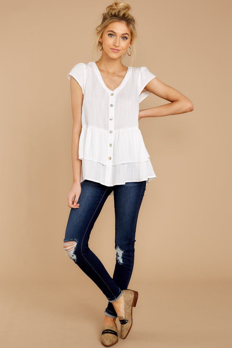 1ace7858 Adorable White Button Up Blouse - Flowy Short Sleeve Top - Shirt - $42 –  Red Dress Boutique