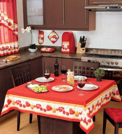 Mantel cuadrado berry decoraci n cocina mesas de for Decoracion de cortinas para cocina
