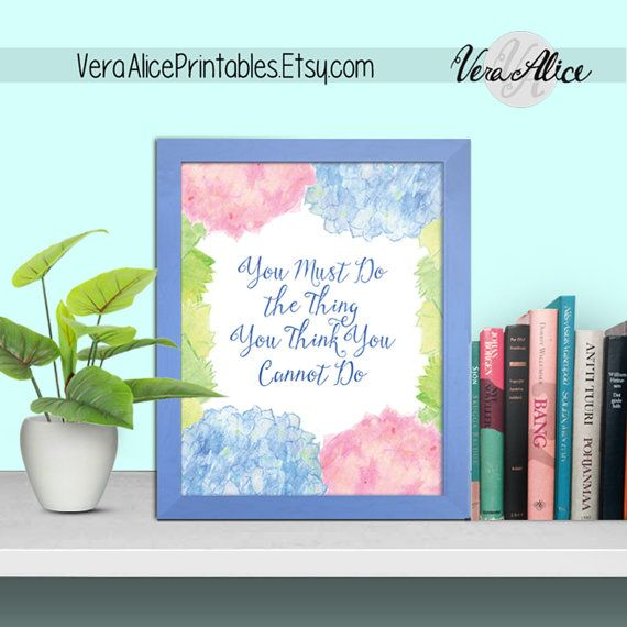 Motivational Floral Printable, You Must Do...You Cannot Do, Flower Art Print Saying Quote Wall Art Print Watercolor Typography Decor Poster