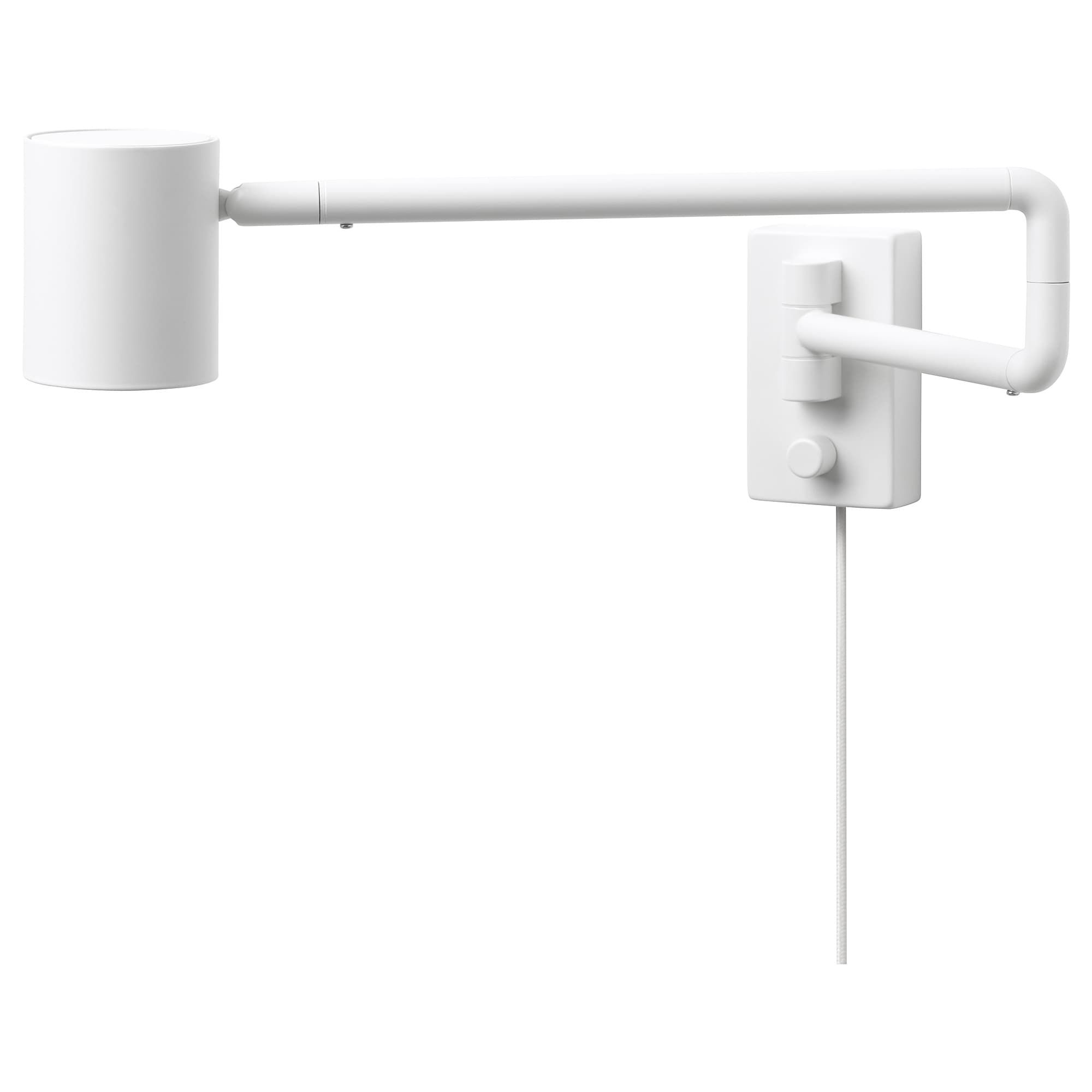 Ikea Nymane White Wall Lamp With Swing Arm Led Bulb Ikea New Ikea Attic Design