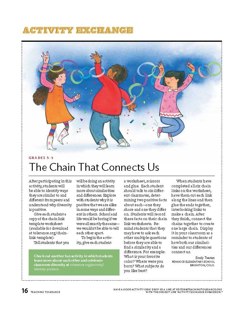 The Chain That Connects Us\ 3rd-5th Grade Classroom Activity from Teaching  Tolerance Magazine   School counseling lessons [ 1100 x 850 Pixel ]