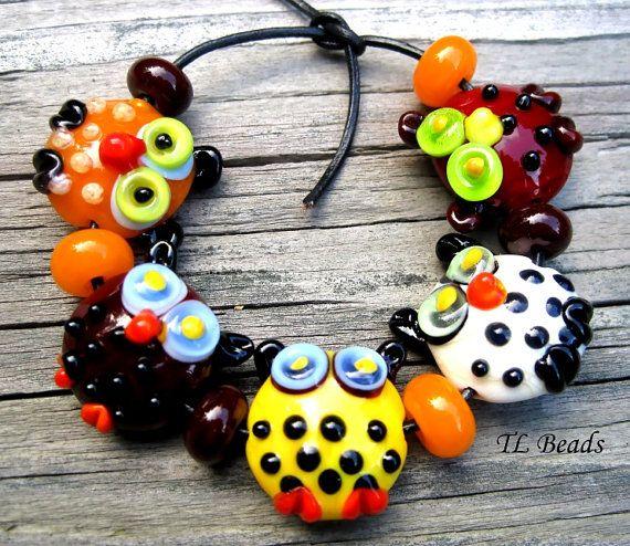 WhoooWhooo Handmade Lampwork Glass Owl Bead Set SRA by TLBeads, $42.00